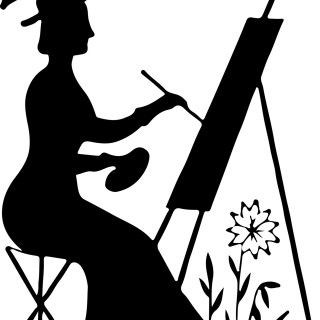 Silhouette Stock Image – Lady Painting