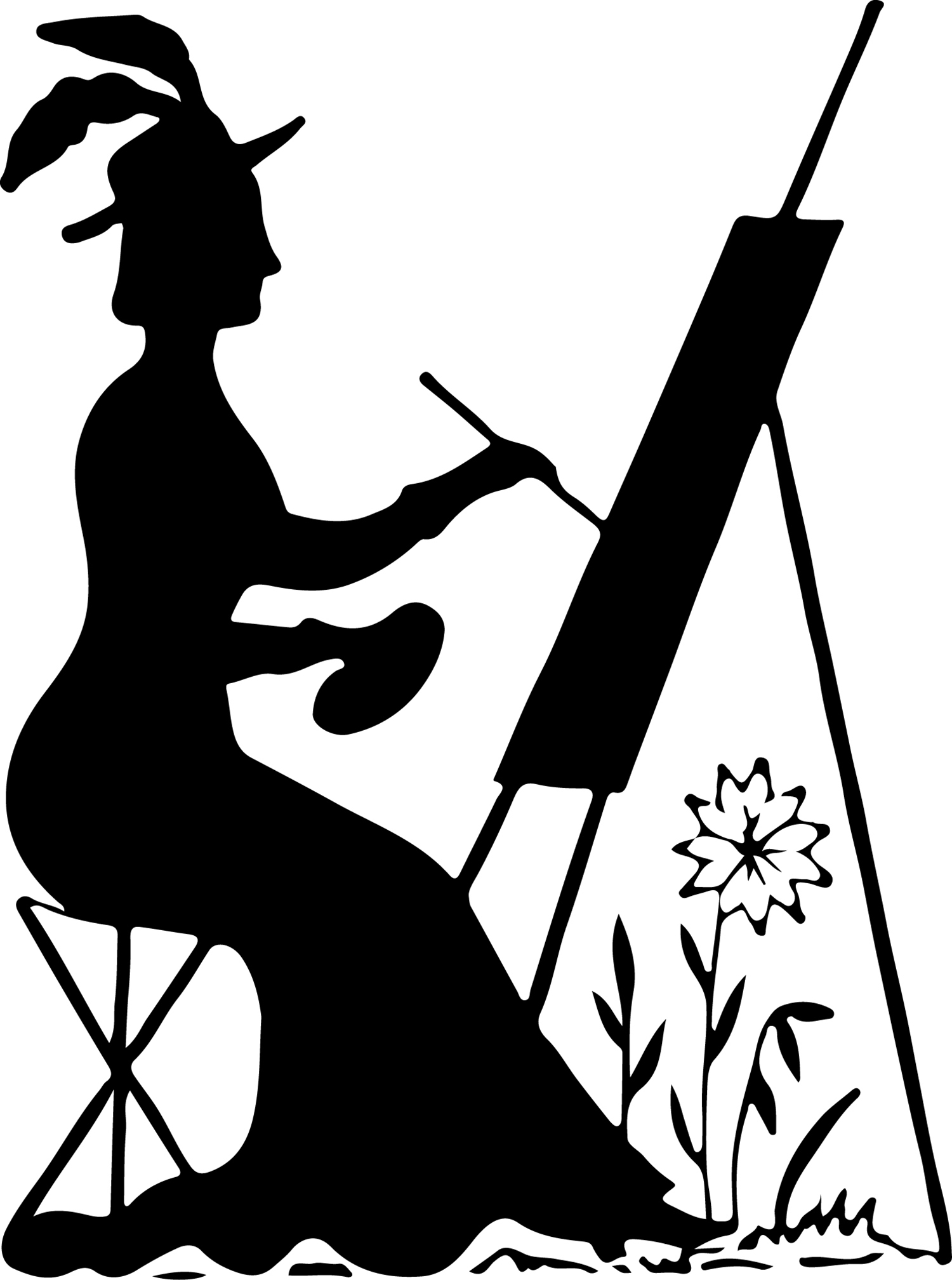 Silhouette Stock Image Lady Painting
