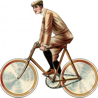 Vintage Bicycle Image – Young Man on Bike