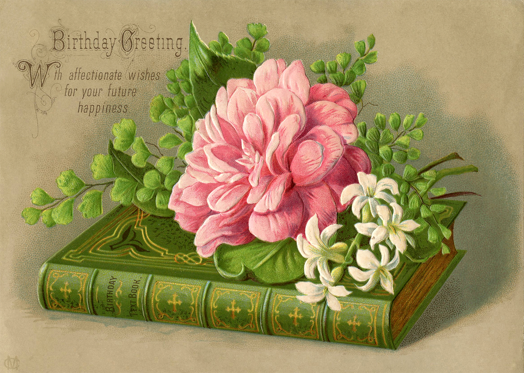 vintage birthday image - book - flowers