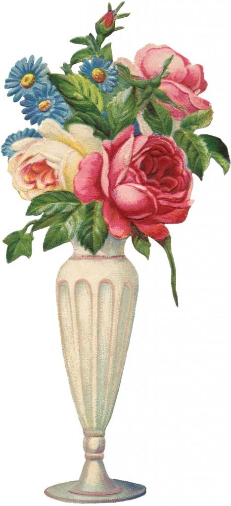 Vintage Flowers Vase Image - The Graphics Fairy