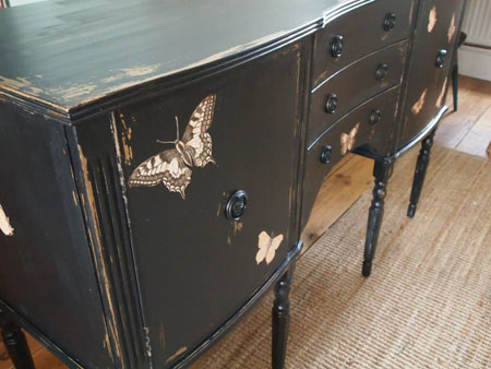 DIY Black Butterfly Sideboard