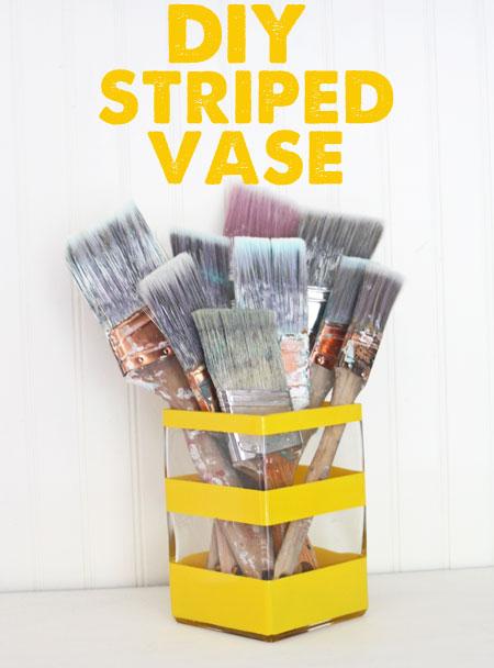 DIY Painted Striped Vase