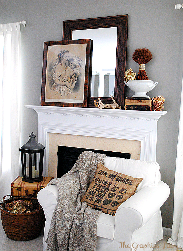 decor ideas fall mantel ideas our vintage mantel the graphics fairy