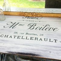 French Typography Painted Writing Desk