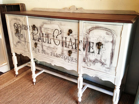 French Typography Painted Buffet