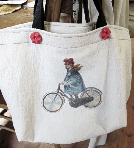 Library Tote With Vintage Bicycle Graphic