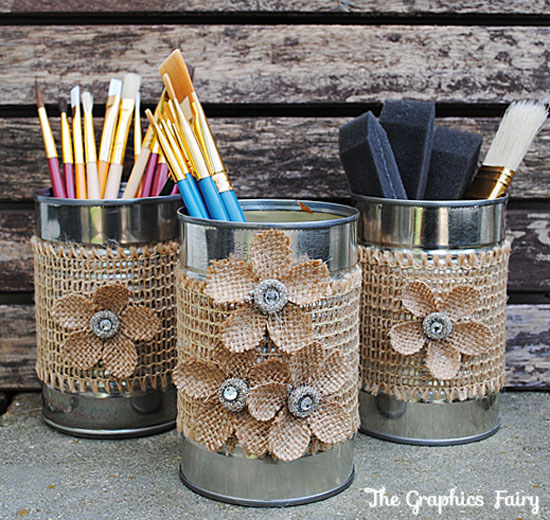 recycled crafts make tin can organizers the graphics fairy