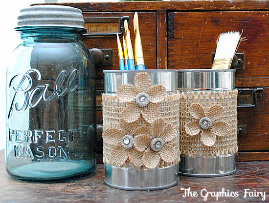 Recycled crafts make tin can organizers the graphics fairy for Home decor ideas from recycled materials