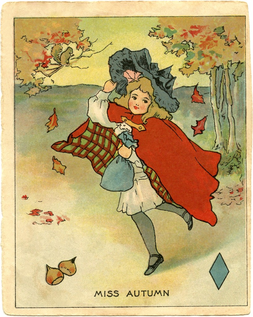 Vintage Clip Art Miss Autumn