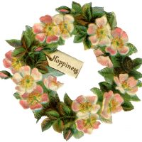 Vintage Dogwood Floral Wreath Image