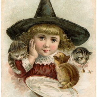 Vintage Halloween Clip Art Witch Girl
