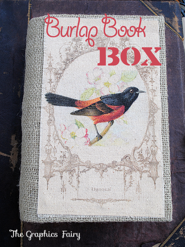 Burlap Book Box - Graphics Fairy
