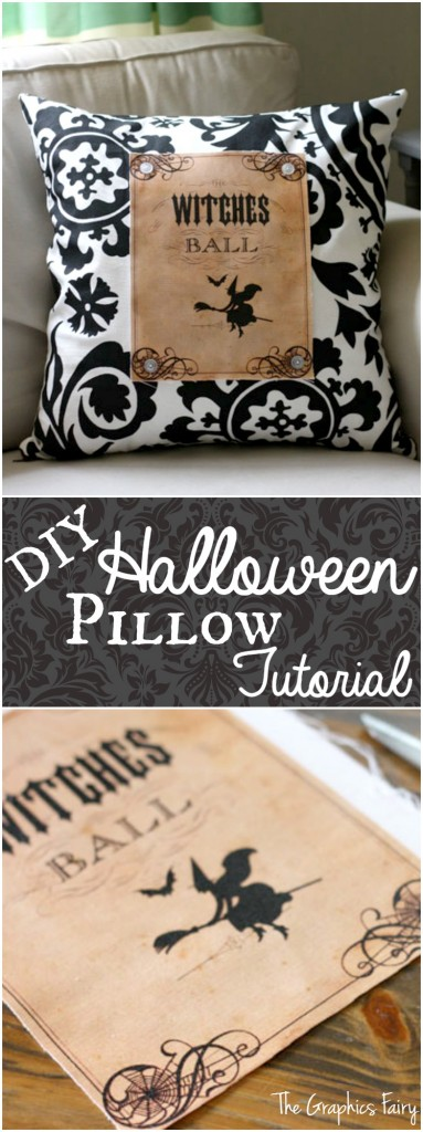 DIY Halloween Pillow Tutorial - The Graphics Fairy