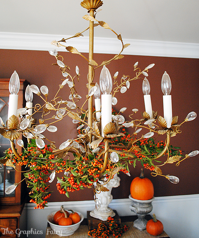 pyracantha berries chandelier