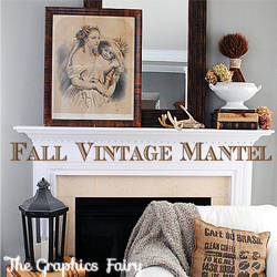 Fall Mantel Ideas – Our Vintage Mantel