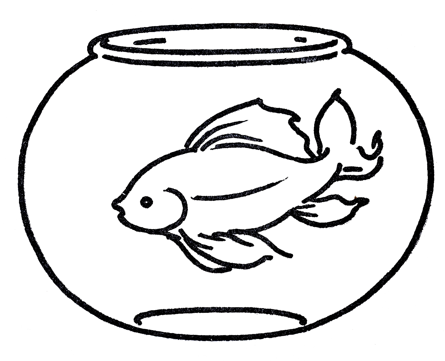 Line Drawing Clip Art : Free clipart goldfish in bowl line art the graphics fairy