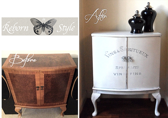Chalk Painted Antique Cabinet With French Typography
