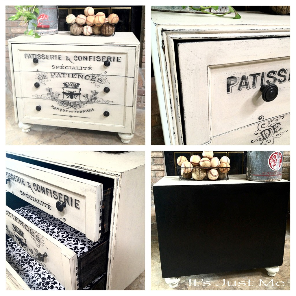 Painted Dresser With French Typography