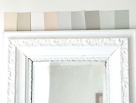 and lastly i grabbed some glidden paint swatches in my top color picks and taped them to the wall to check them during different lighting through out the