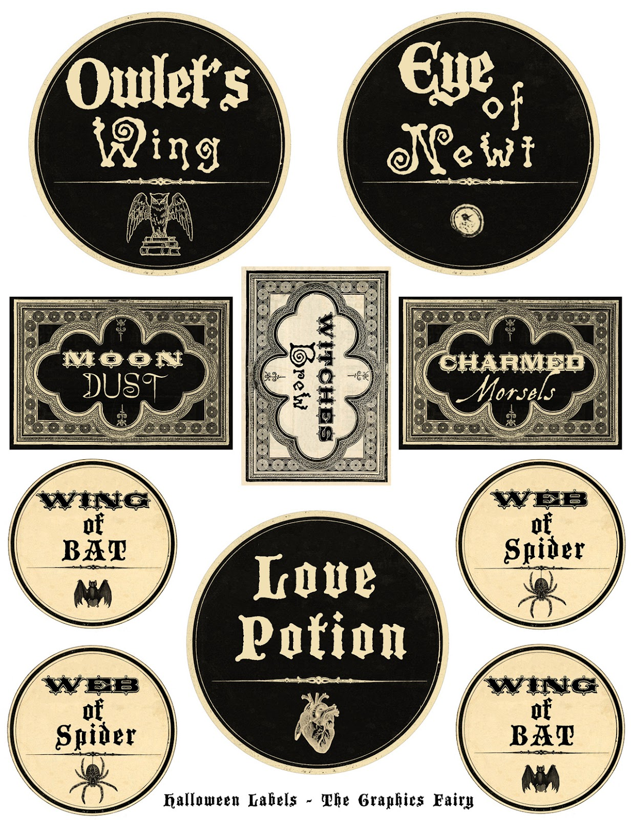 Fan image inside free printable halloween poison bottle labels