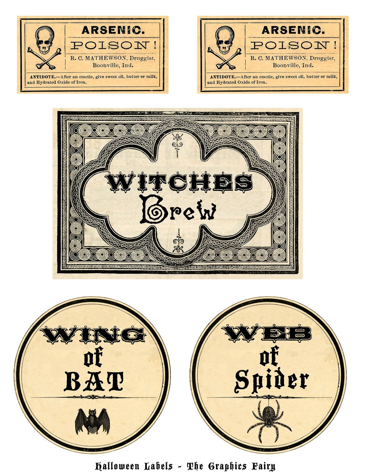Free Printable Halloween Labels - Potions - The Graphics Fairy