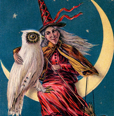 7 Spooky Red Halloween Witch Images – Vintage!
