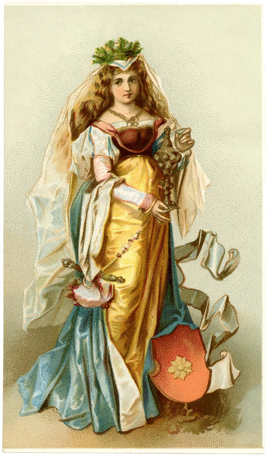 Medieval Lady Image on Vintage Blue Bird Clip Art