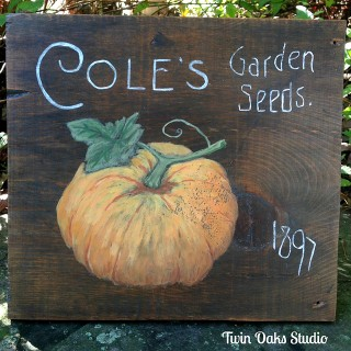 Hand Painted Pumpkin Sign