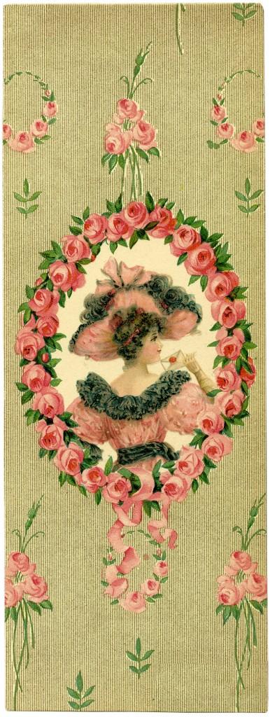 Романтичная Леди с Цветочные Рамки