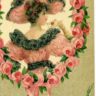 Romantic Lady with Floral Frame Images