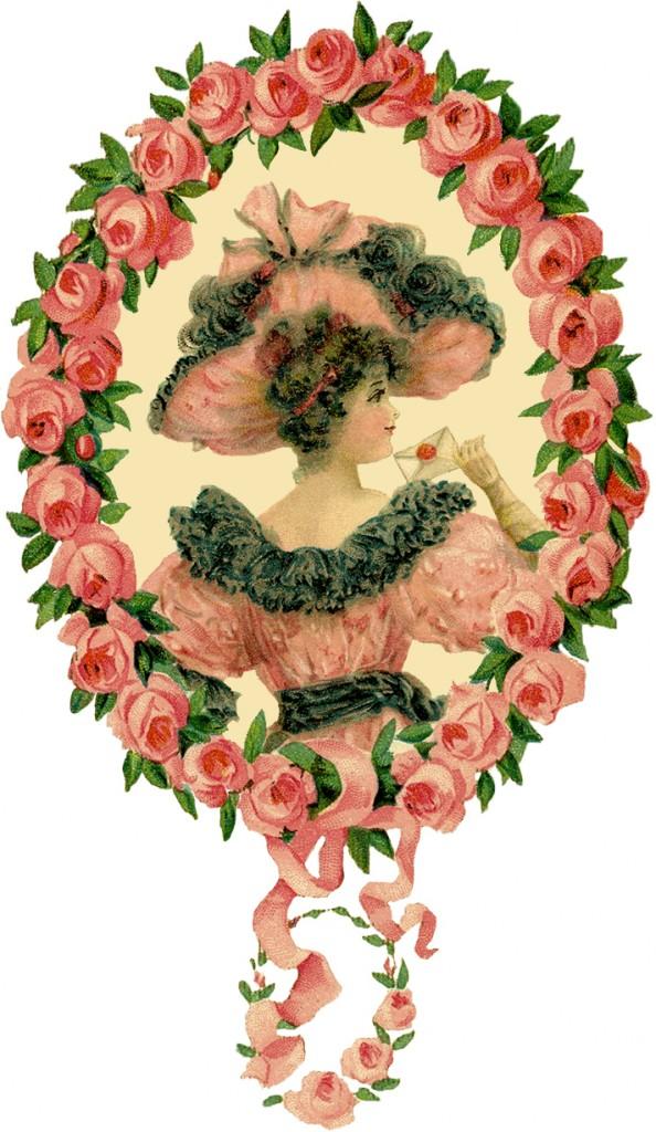 Романтичная Леди Цветочные Рамка Изображения
