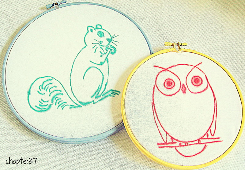 sharpie cross stitch art in embroidery hoop frames
