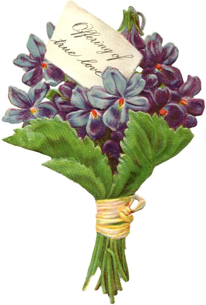 free victorian image - violets