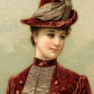 Victorian Lady Image in Velvet Dress