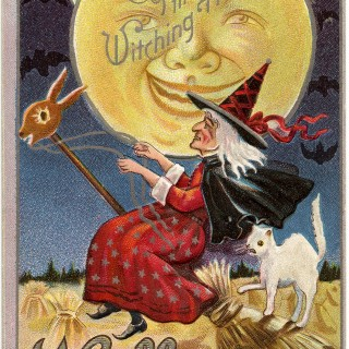 Vintage Halloween Witch Image with Moon Man