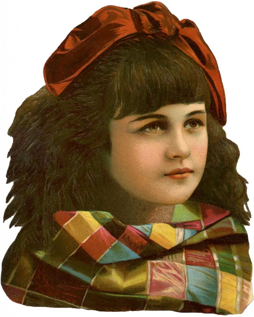 Vintage Girl Clip Art - Fall