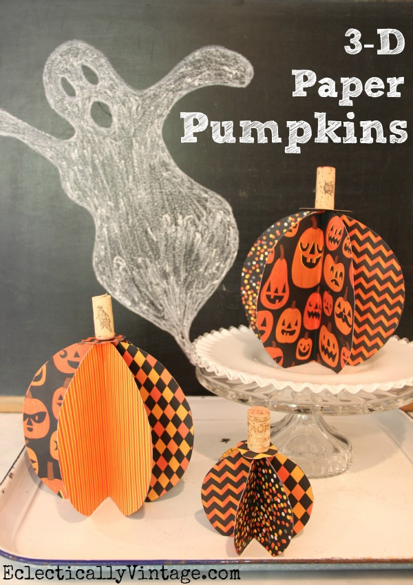3D Paper Pumpkin at eclecticallyvintage.com