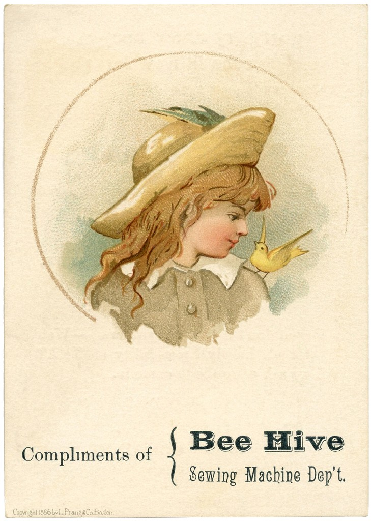 Antique Trade Card Image Bee Hive Sewing