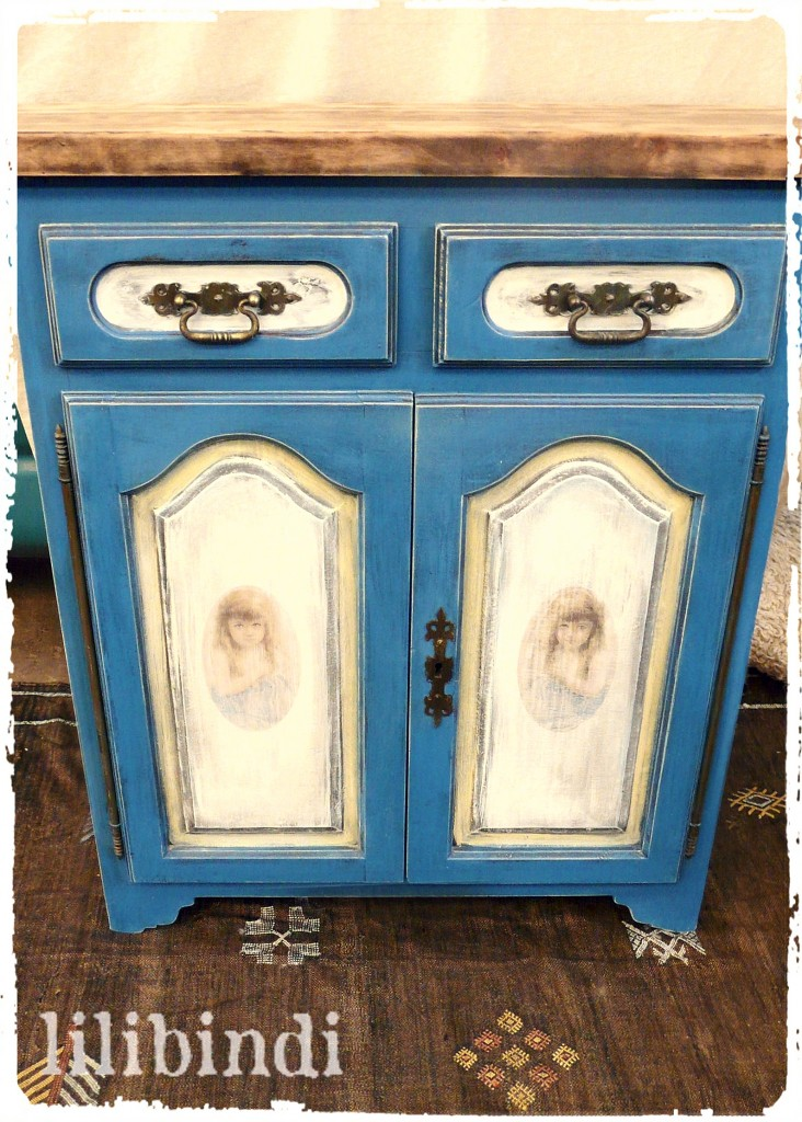 French Painted Cupboard with Vintage Graphic Image
