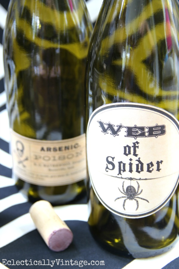 Halloween Wine Bottles via eclecticallyvintage.com