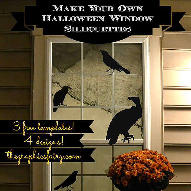 halloween window silhouette templates - Halloween Window Decor