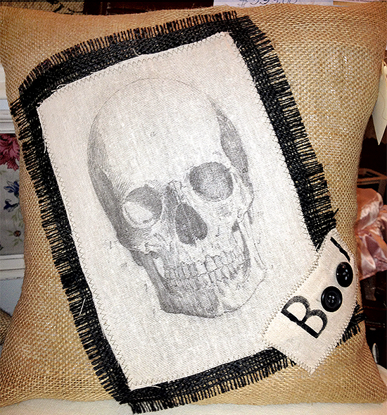 Burlap Pillow With Skull Image