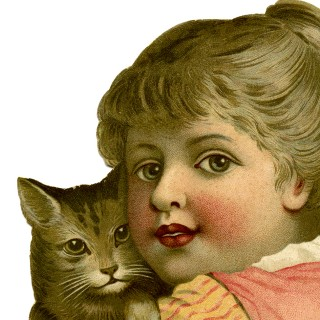 Vintage Child with Cat Image