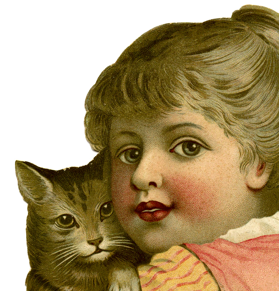 Vintage Child With Cat Image The Graphics Fairy