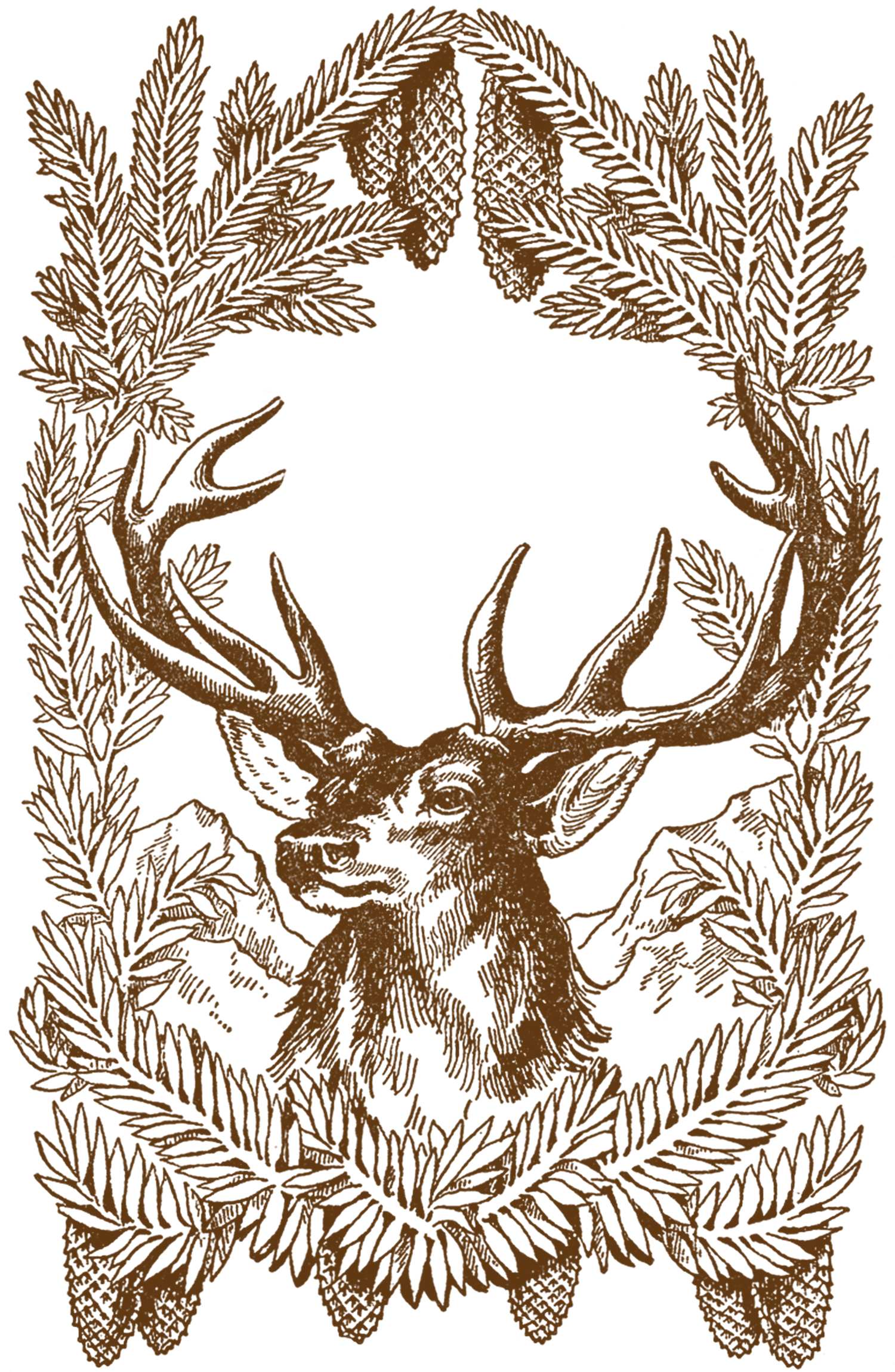 Free Vintage Christmas Pictures - Deer - The Graphics Fairy