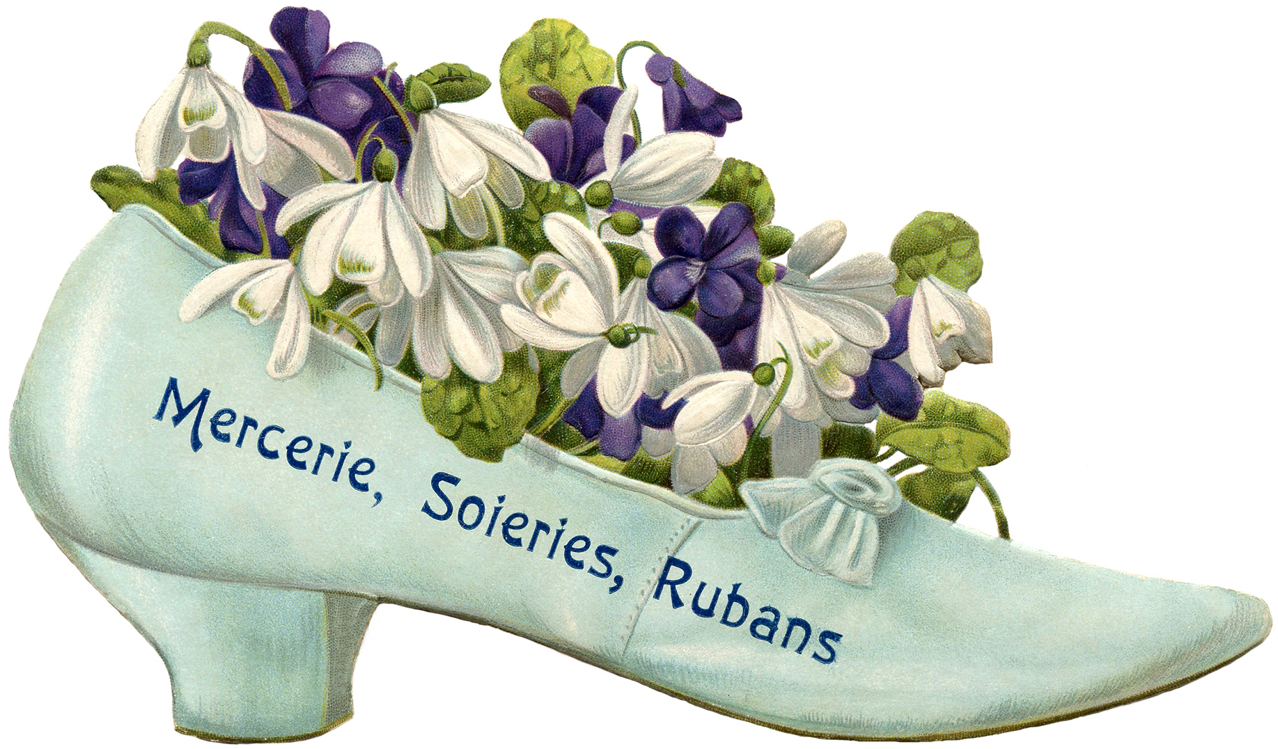French Vintage Shoe Images - Flowers - The Graphics Fairy