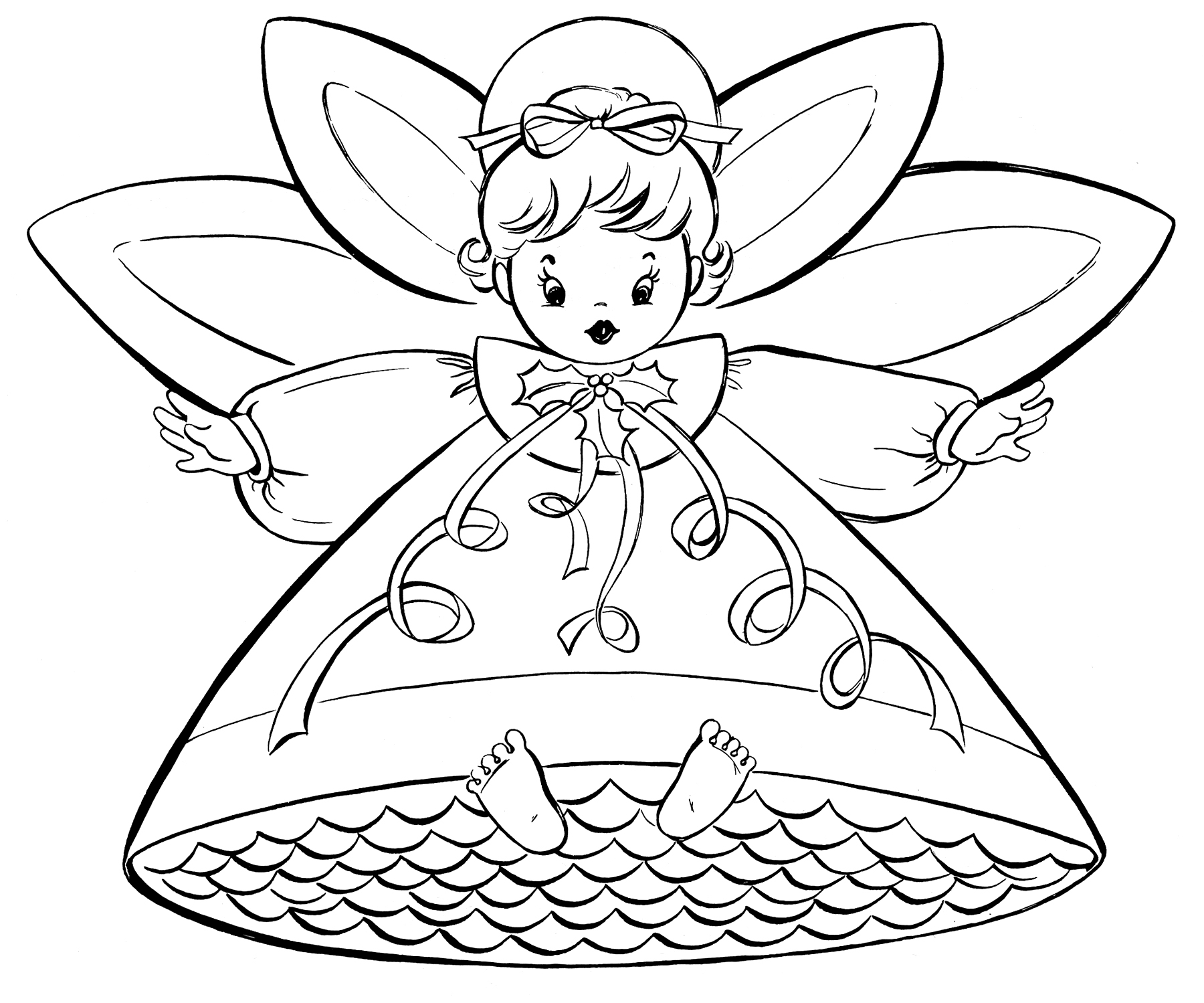 Free christmas coloring pages retro angels the for Christmas printables coloring pages