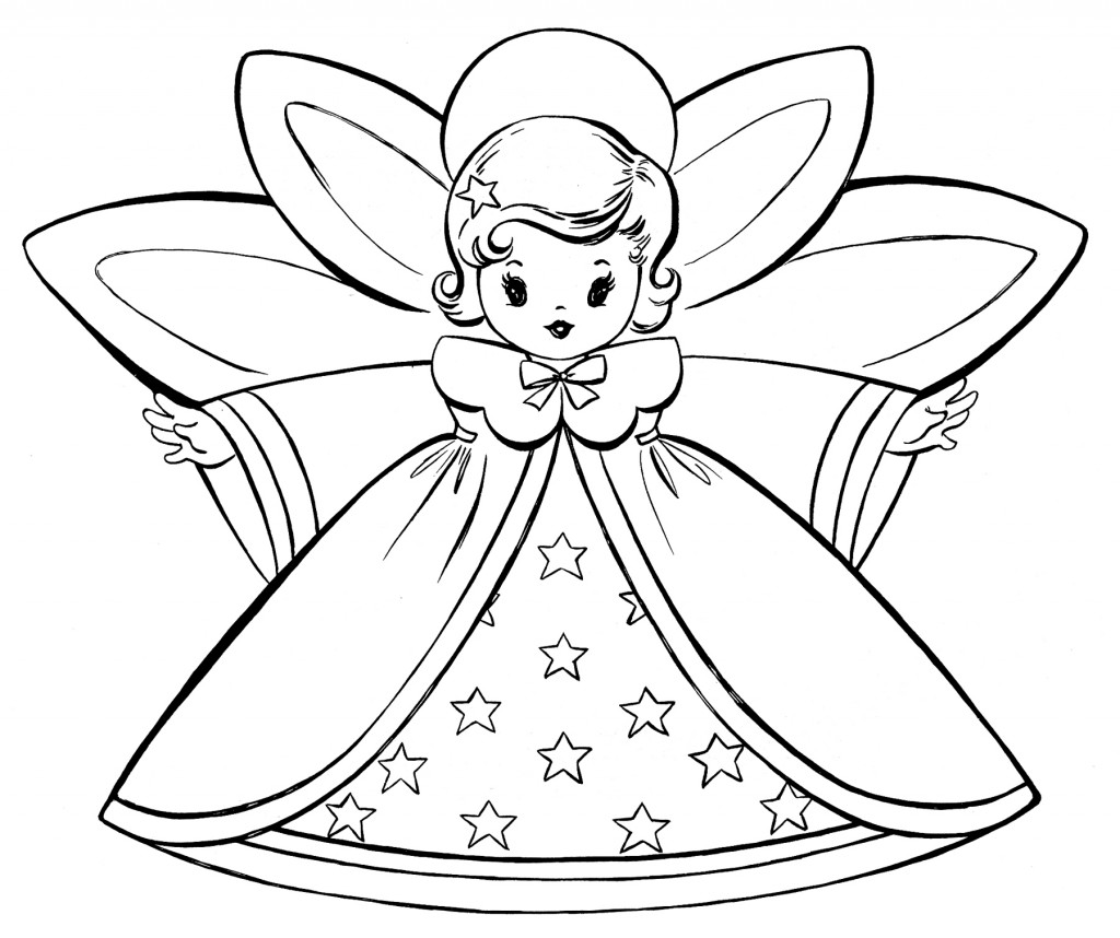 Free christmas coloring pages retro angels the for Christmas fairy coloring pages