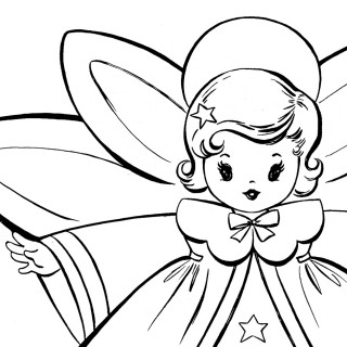 Free Christmas Coloring Pages – Retro Angels